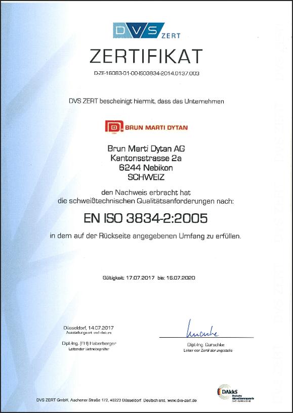 Zertifikat Eniso