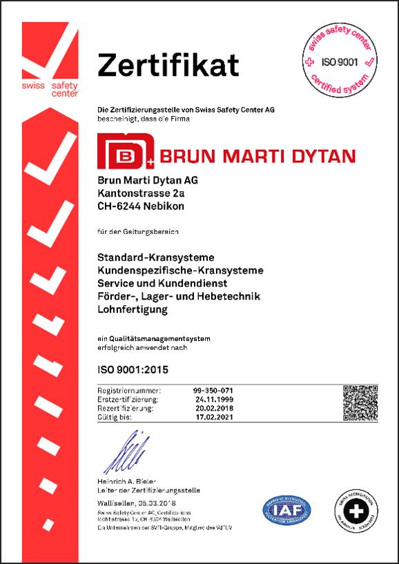 Zertifikat Kransysteme