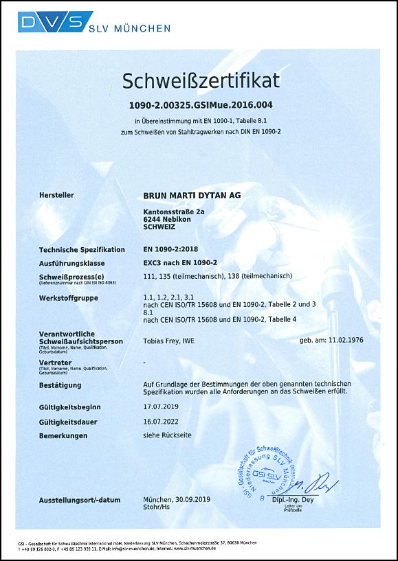 Schweisszertifikat En1090 2