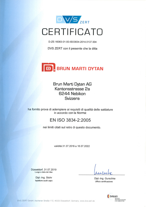 En Iso 3834 2 It Certificato